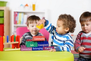 Toddlers playing with toy blocks, with the words 'community, safe, energized, connected, belonging, caring' on them