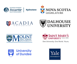 Logos of Assante Hydrostone, Dalhousie University, Mount Saint Vincent University, Saint Mary's University, University of Dundee, Yale University, Nova Scotia Legislature