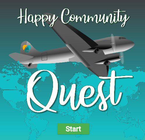 """Airplane with Happy Community Logo on the tail flies over a map of the world. Text over it reads """"Happy Community Quest"""""""