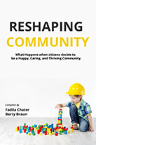 """Cover of book """"Reshaping Community: What happens when citizens decide to be a Happy, Caring and Thriving Community"""""""