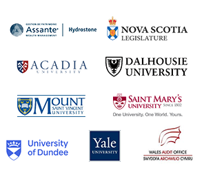 Logos of Assante Hydrostone, Dalhousie University, Mount Saint Vincent University, Saint Mary's University, University of Dundee, Yale University, Nova Scotia Legislature, Wales Audit Office